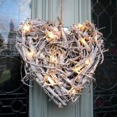 Root Heart Wreath With Pea Lights - christmas decorations
