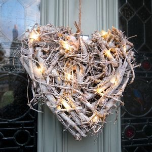 Root Heart Wreath With Pea Lights - outdoor decorations