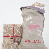 Luxury Linen Stag Christmas Sack - christmas decorations