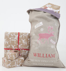 Luxury Linen Stag Christmas Sack