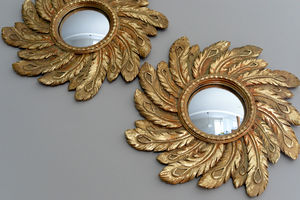 Gold Feather Mirror - mirrors