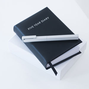 Modern Black Leather Five Year Diary