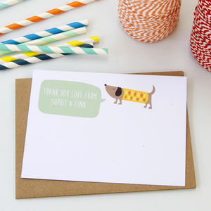 12 Personalised Dog Thank You Cards