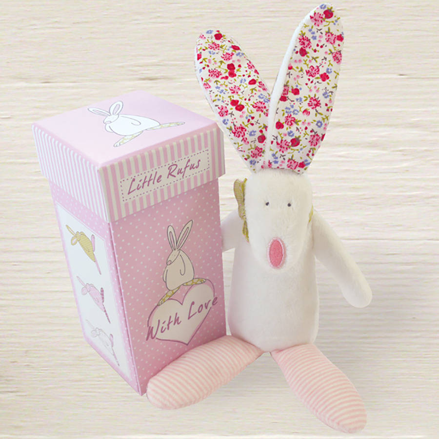 Easter gifts for babies children notonthehighstreet baby girl rabbit rattle with gift box gifts for babies negle Image collections
