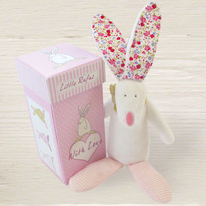 Baby Girl Rabbit Rattle With Gift Box - soft toys & dolls