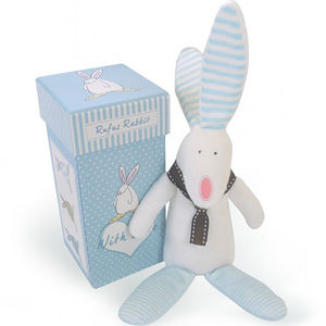 Baby Boy Rabbit Rattle With Gift Box - keepsake boxes