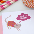 12 Personalised Pink Cat Thank You Cards