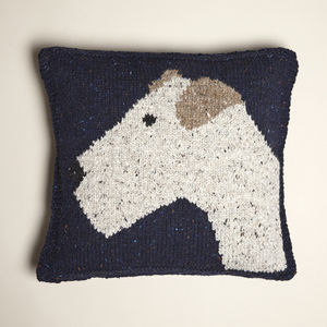 Knitted Terrier Cushion Cover Navy