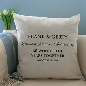 Personalised Diamond Wedding Anniversary Cushion - for the couple