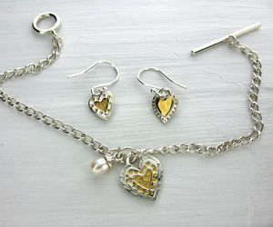 Silver And Gold Heart And Pearl Bracelet