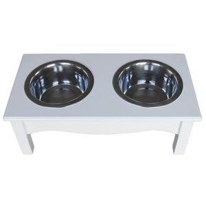 Raised / Elevated Wooden Dog Feeder In A White Finish - dogs