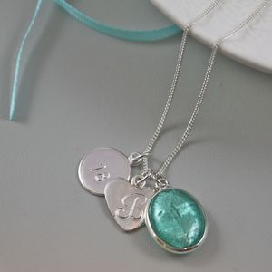 Silver Necklace With Murano Glass Oval And Initial