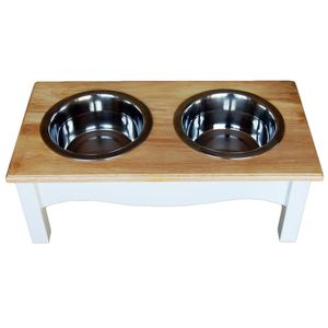 Raised Wooden Dog Feeder In A White And Wood Finish - dogs