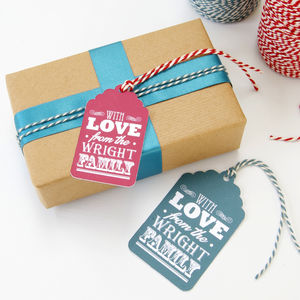 Personalised 'With Love From…' Christmas Gift Tags - christmas