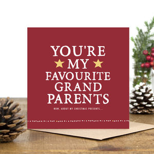 'You're My Favourite Grandparents' Christmas Card - christmas cards