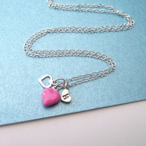 Mini Pink Enamel And Initial Hearts Necklace - necklaces & pendants