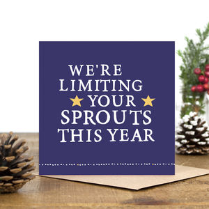 'We're Limiting Your Sprouts' Christmas Card - funny christmas cards