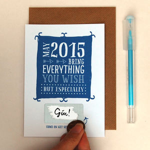 New Year 2015 Hidden Message Card Single Or Pack