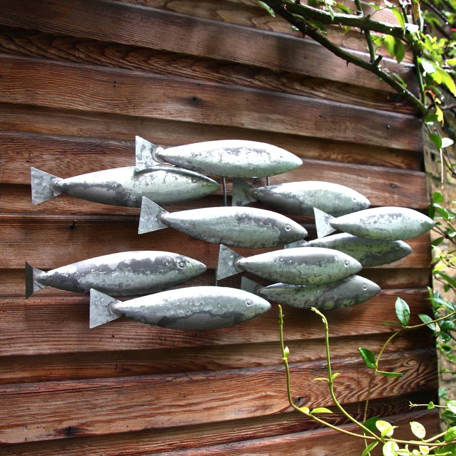 metal fish wall art by london garden trading