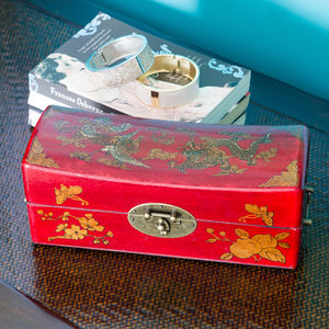 Red Chinese Pillow Box - cufflink boxes & coin trays