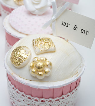 'mr & mr' Party Picks - ivory with ivory bows