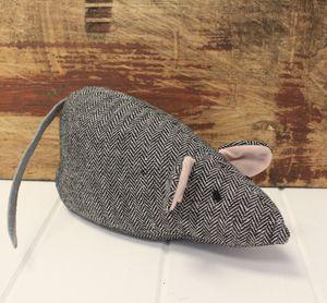 Grey Tweed Mouse Door Stop