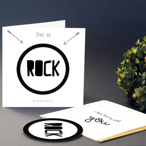 'You So Rock' Greeting Card With Coaster