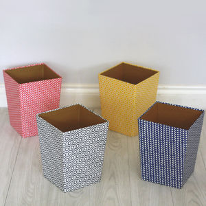 Recycled Geometric Print Waste Paper Bin - view all sale items