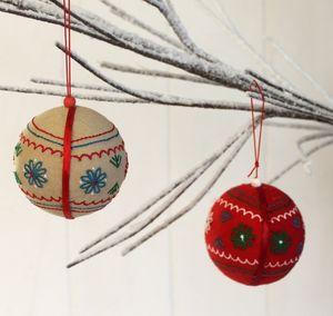Pair Of Scandi Inspired Fabric Baubles
