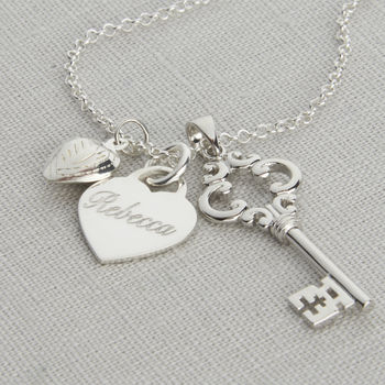 Personalised Sterling Silver Key And Heart Necklace