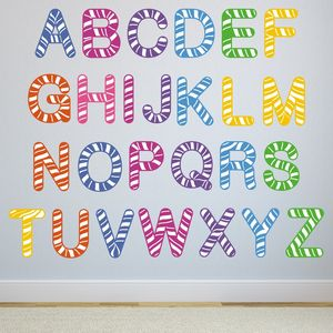Exceptional Stripe Alphabet Wall Stickers Part 30