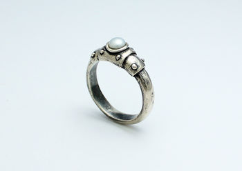 Bond Together Steampunk Sterling Silver Ring With Pearl
