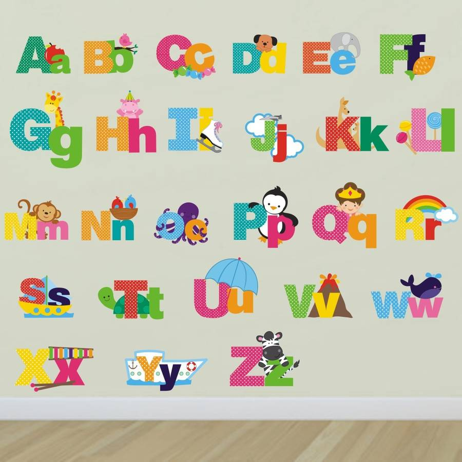 Alphabet Wall Mural Of Picture Alphabet Wall Stickers By Mirrorin