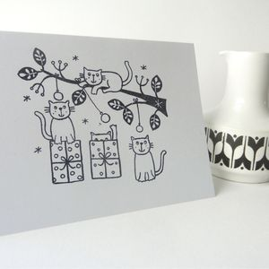 Five Hand Printed Cats Christmas Cards