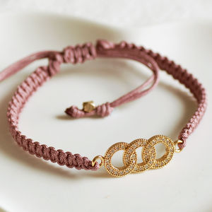Mauve Linked Rings Friendship Bracelet - women's jewellery