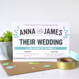 Personalised Bourbon Wedding Invitation - invitations