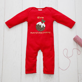 Personalised 'Little Pudding' Christmas Babygrow