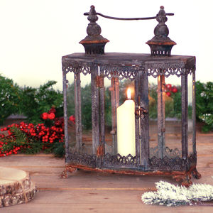 Zinc Metal Garden Lantern - outdoor decorations