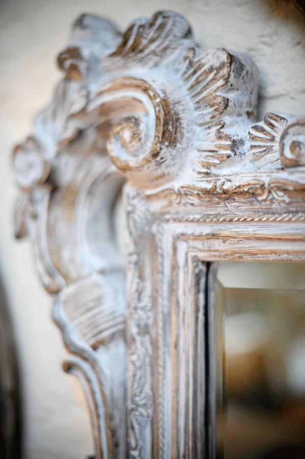 Large White Wash Carved Wood Effect Mirror By Hand Crafted
