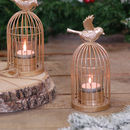 Gold Birdcage Lantern Tea Light Holder