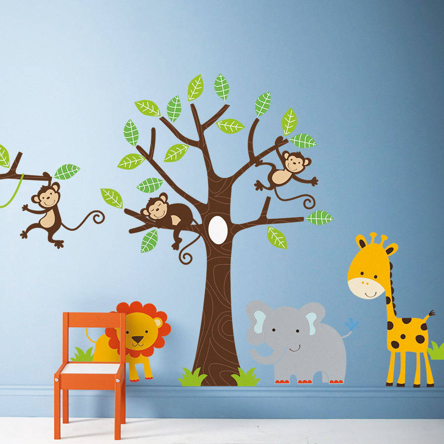 Children 39 s jungle wall stickers by parkins interiors - Stickers jungle chambre bebe ...