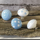 Blue Spotted Striped Ceramic Cupboard Door Knobs