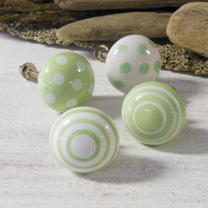 Green Cabinet Ceramic Cupboard Door Knobs Pulls