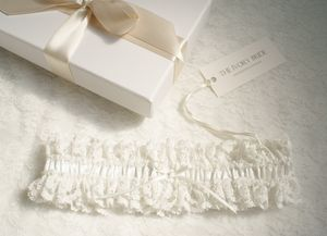 Olivia Lace And Pearl Garter - bridal lingerie