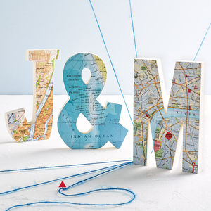 Personalised Map Location Wooden Decorative Letter - our travels