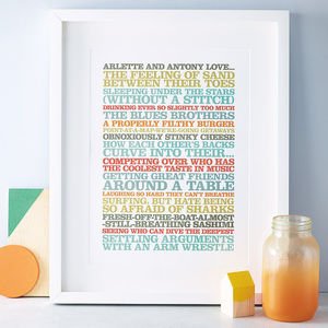 Personalised Couples 'Likes' Poster Print - our memories