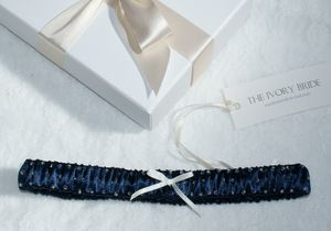 Darcy Satin Garter With Bead Detailing