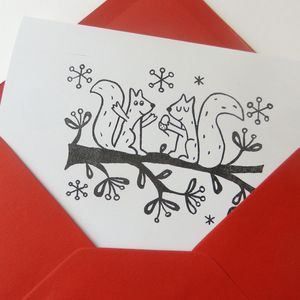 Five Hand Printed Festive Squirrel Christmas Cards - cards