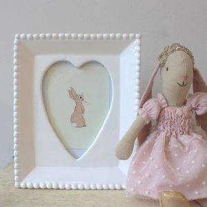 White Ceramic Heart Frame - picture frames