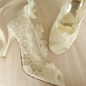Ivory Lace Peep Toe Wedding Shoes - bridal shoes
